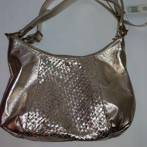 Elliott Lucca Woven Gold Leather Shoulder Bag